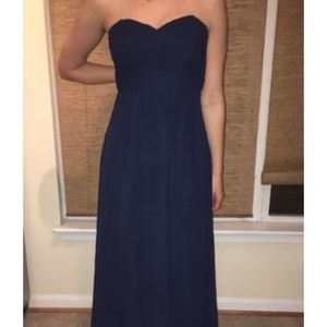 Navy Long Sweetheart Chiffon Bridesmaid Dress